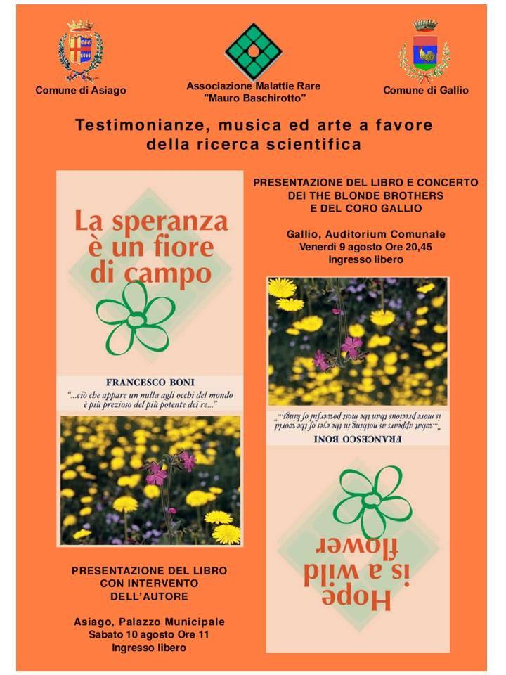 Nella loncandina della manifestazione: la copertina del libro di Francesco Boni